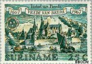 Suriname SU 483  1967 Vrede van Breda 25 cent  Gestempeld
