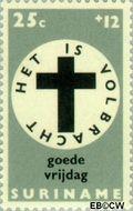 Suriname SU 493  1968 Pasen 25+12 cent  Gestempeld