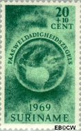 Suriname SU 513  1969 Paasgedachte 20+10 cent  Gestempeld