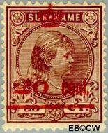 Suriname SU 63  1911 Hulpuitgifte 20 op 30 cent  Gestempeld