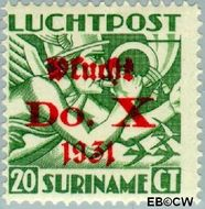 Suriname SU LP10  1930 DO. X vlucht 20 cent  Gestempeld