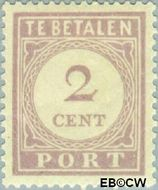 Suriname SU PT19  1913 Port 2 cent  Gestempeld
