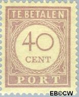 Suriname SU PT29  1913 Port 40 cent  Gestempeld