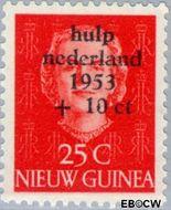 Nieuw-Guinea NG 24  1954 Watersnood 25+10 cent  Gestempeld