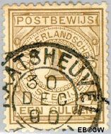 Nederland NL PW1  1884 Gebruik op postbewijsformulieren 100 cent  Gestempeld