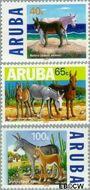 Aruba AR 221#223  1999 Ezels  cent  Gestempeld