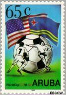 Aruba AR 142  1994 WK Voetbal 65 cent  Gestempeld