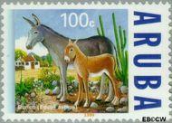 Aruba AR 223  1999 Ezels 100 cent  Gestempeld