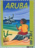 Aruba AR 293  2002 Kind en dieren 100+50 cent  Gestempeld