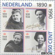 Nederland NL 1455#  1990 Oranjevrouwen op de troon  cent  Gestempeld