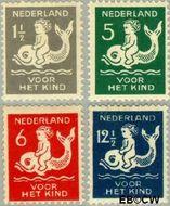 Nederland NL 225#228  1929 Kind op dolfijn   cent  Gestempeld