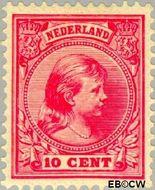 Nederland NL 37  1891 Koningin Wilhelmina- 'Hangend haar' 10 cent  Gestempeld