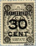 Suriname SU 135  1927 Opruimingsuitgifte 30 op 450 cent  Gestempeld