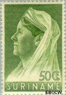 Suriname SU 175  1936 Wilhelmina met sluier 50 cent  Gestempeld