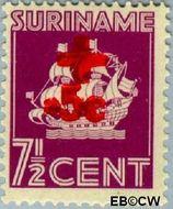 Suriname SU 205  1942 Scheepje 7½+5 cent  Gestempeld
