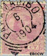 Suriname SU 24  1892 Hangend haar 12½ cent  Gestempeld