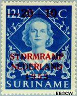 Suriname SU 296  1953 Stormramp Nederland 20+10 op 12 ½ cent  Gestempeld