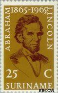 Suriname SU 424  1965 Lincoln, Abraham 25 cent  Gestempeld