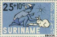 Suriname SU 434  1965 Kind en dier 25+10 cent  Gestempeld