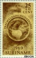 Suriname SU 514  1969 Paasgedachte 25+12 cent  Gestempeld