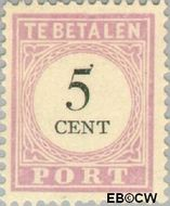 Suriname SU PT10  1892 Port 5 cent  Gestempeld