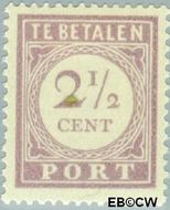 Suriname SU PT20  1913 Port 2½ cent  Gestempeld