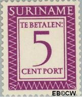 Suriname SU PT50  1956 Port 5 cent  Gestempeld