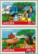 Aruba AR 108#109  1992 Solidariteit  cent  Gestempeld