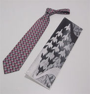 M.C. Escher stropdas rood/grijs