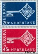 Nederland NL 906#907  1968 C.E.P.T.- Sleutel  cent  Gestempeld