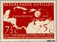 Nederlandse Antillen NA 266  1957 Voetbalkampioenschappen 7½+5 cent  Gestempeld
