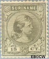 Suriname SU 25  1892 Hangend haar 15 cent  Gestempeld