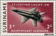 Suriname SU 405  1964 Stichting Lucht- en Ruimtevaart 3+2 cent  Gestempeld