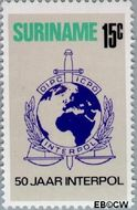 Suriname SU 605  1973 Interpol 15 cent  Gestempeld