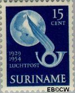 Suriname SU LP32  1954 Vlucht Lindbergh 15 cent  Gestempeld