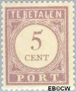 Suriname SU PT21  1913 Port 5 cent  Gestempeld