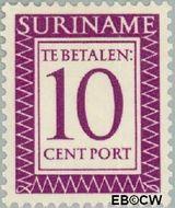 Suriname SU PT51  1956 Port 10 cent  Gestempeld