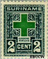 Suriname SU 127  1927 Groene Kruis 2+2 cent  Gestempeld