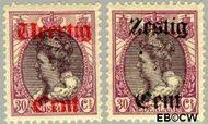 Nederland NL 102#103  1919 Koningin Wilhelmina- Hulpuitgifte  cent  Ongebruikt