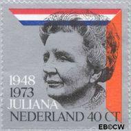 Nederland NL 1036#  1973 Koningin Juliana- regeringsjubileum  cent  Gestempeld