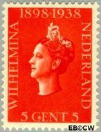 Nederland NL 311  1938 Koningin Wilhelmina- Regeringsjubileum 5 cent  Postfris