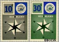 Nederland NL 700#701  1957 Windroos   cent  Gestempeld