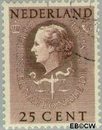 Nederland NL D38  1951 Cour Internationale de Justice 25 cent  Gestempeld