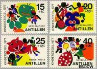 Nederlandse Antillen NA 551#554  1977 Fantasie-dieren  cent  Gestempeld