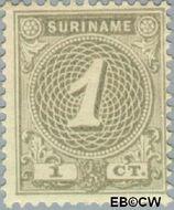 Suriname SU 16  1890 Drukwerkzegel 1 cent  Gestempeld