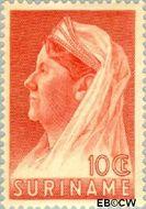 Suriname SU 167  1936 Wilhelmina met sluier 10 cent  Gestempeld