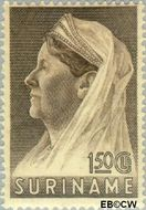 Suriname SU 177  1936 Wilhelmina met sluier 150 cent  Gestempeld