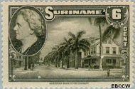 Suriname SU 227  1945 Wilhelmina en landschappen 6 cent  Gestempeld