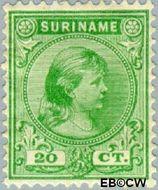Suriname SU 26  1892 Hangend haar 20 cent  Gestempeld
