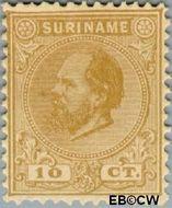 Suriname SU 6  1873 Eerste emissie 10 cent  Gestempeld